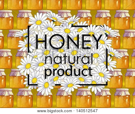 Natural honey. 100% ecological product. Vector illustration for your project