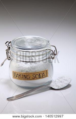baking soda on the white background