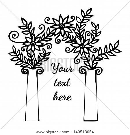 Decorative black line arch silhouette with abstract flower and place for text isolated on the white background