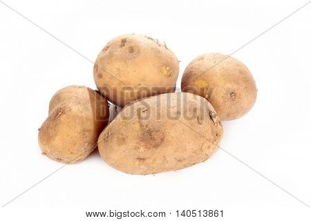 close up shot of potatoes on white background.