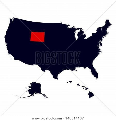 Wyoming State in the United States map vector