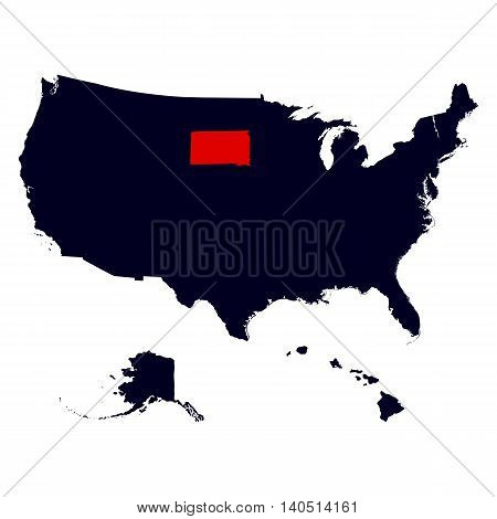 South Dakota State in the United States map vector