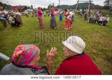 GRISHINO, RUSSIA - JUL 30, 2016: Unidentified participants of the Festival of folk culture Russian Tea. Festival held annually in Grishino ecovillage since 2012.