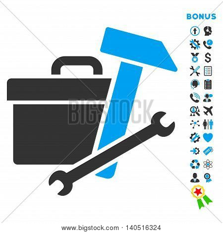 Toolbox icon with bonus pictograms. Glyph style is bicolor flat iconic symbol with rounded angles, blue and gray colors, white background.
