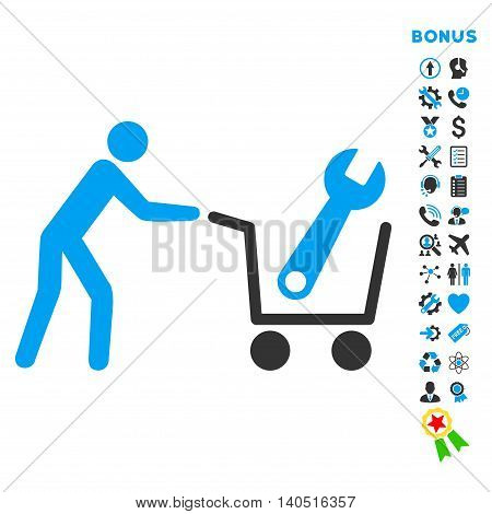 Tools Shopping icon with bonus pictograms. Glyph style is bicolor flat iconic symbol with rounded angles, blue and gray colors, white background.