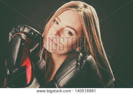 Woman With Boxing Gloves Crossed Arms.