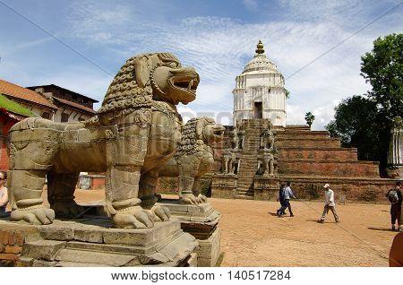 Bhaktapur,np - Circa August 2012 - Lion Statue In Durbar Square, Circa August 2012 In Bhaktapur. Bha
