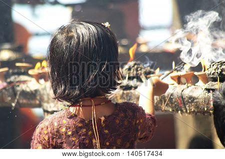 Manakamana, Np - Circa August 2012 - Little Girl In Manakamana Hindu Temple, Circa August 2012, In M