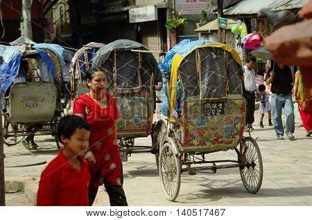 Kathmandu,np Circa August 2012 - Rickshaws, Typical Transportation In Nepal Circa August 2012 In Kat