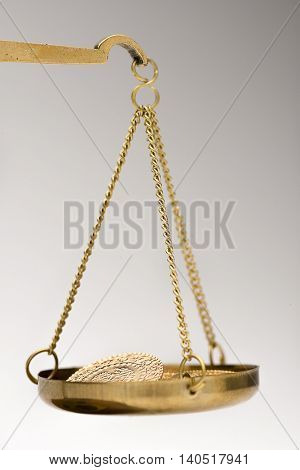 Close up of Gold Coins on Weight Scale