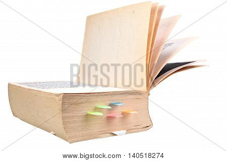 Pocketbook with multicolored bookmarks isolated on white background with clipping path