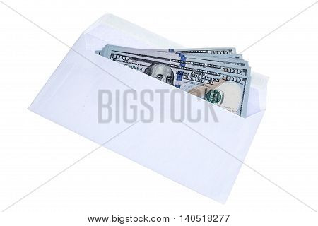 Hundred dollar bills in the envelop isolated on white background with clipping path