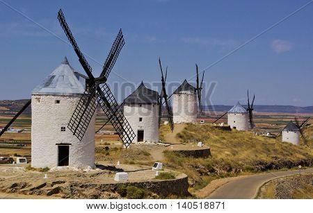 White windmills in La Mancha near Toledo Spain.
