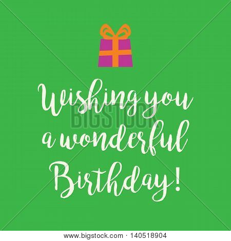 Green Turquoise Happy Birthday Card With A Purple Present