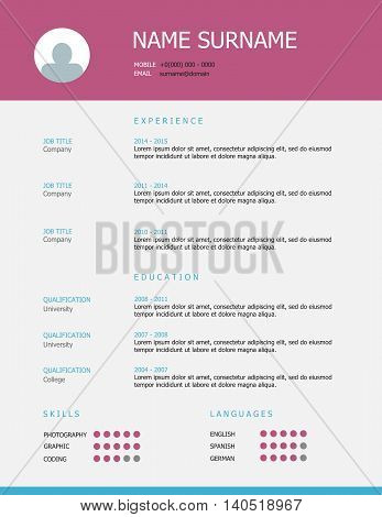 Resume Template Design With Pink Nlue Headings
