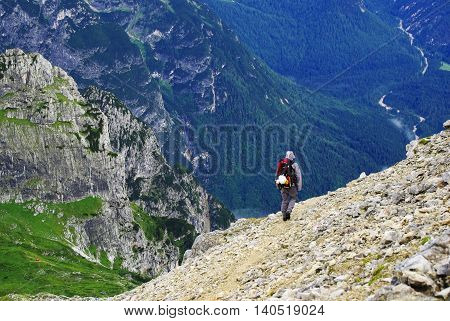 Hiker in the Dolomites Marmarole Group, Italy