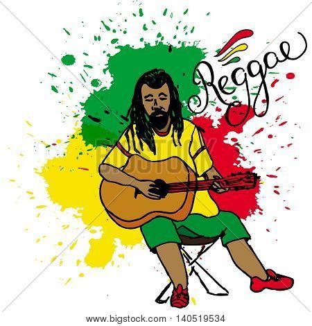 Vector Illustration Of Rastaman Playing Guitar. Rastafarian Guy With Dreadlocks Wearing Yellow Shirt