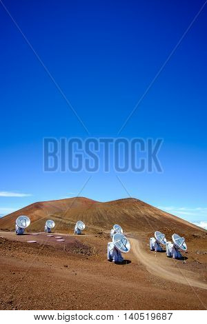 Landscape View Of Astronomical Telescopes On Mauna Kea, Maui