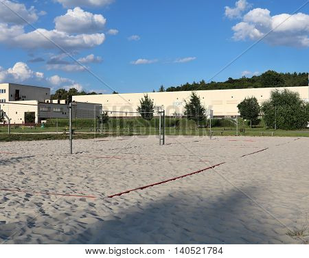 Beach volleyball sports field in the city