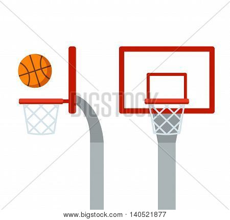 Basketball hoop and ball front and side view. Flat cartoon vector isolated illustration.