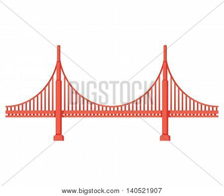 Golden Gate Bridge side view. San Francisco symbol isolated vector illustration.