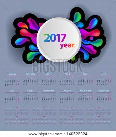 Calendar With Colorful Abstract Shapes In 2017 - 2025 Year, Beginning With Monday