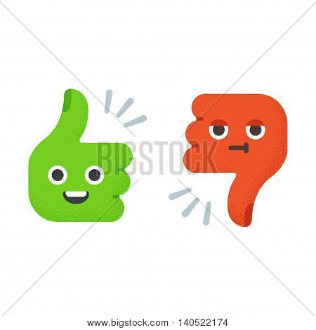 Cartoon Thumbs Up and Thumbs Down with cute funny faces. Flat vector illustration with vintage texture.