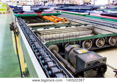 conveyor chain and conveyor belt on factory.