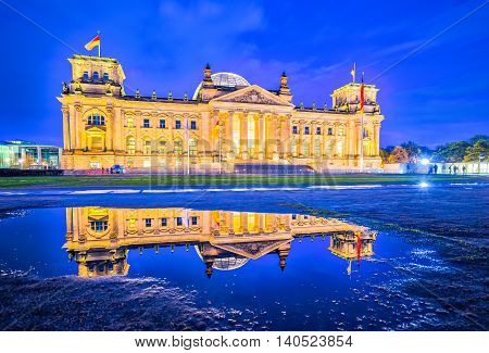 The Reichstag Building (deutscher Bundestag)  A Historical Edifice In Berlin, Germany