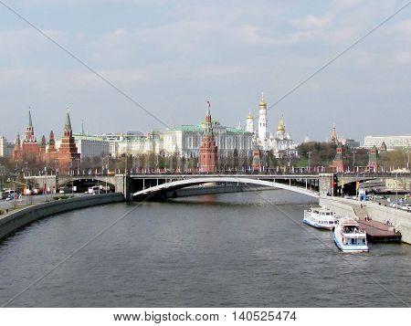 Moscow Russia - April 30 2011: Ten towers of Moscow Kremlin - left to right -Middle Arsenalnaya Troitskaya Komendantskaya Armoury Borovitskaya Vodovzvodnaya Blagoveschenskaya Taynitskaya First Unnamed Second Unnamed