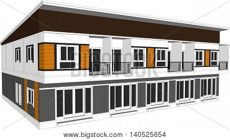 3D illustration design plan building house isolated white background