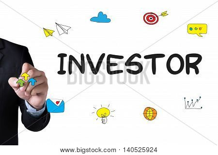 INVESTOR and Businessman drawing Landing Page on white background