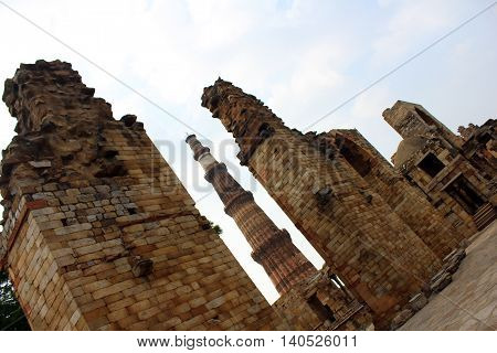 Qutub Minar at 72 meters is the tallest brick minaret in the world. Qutub Minar along with the ancient and medieval monuments surrounding it form the Qutub Complex which is a UNESCO World Heritage Site.
