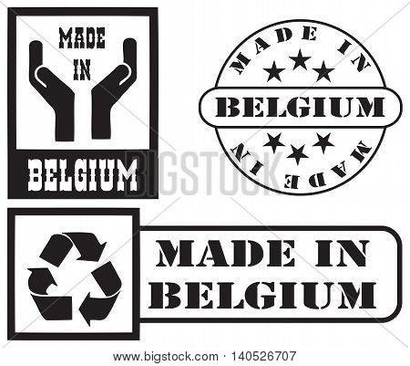 Set stamp imprints Made in Belgium. Vector illustration.