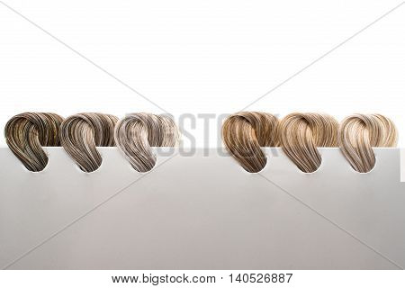 hair samples of different colors  created  intensity