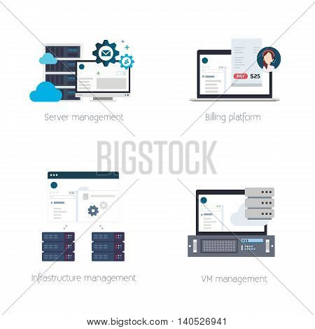Set of Vector Illustrations or Icons of Software Products for Hosting Providers Including Billing, Virtual Private Server or VPS, Hosting and DCI Management Tools
