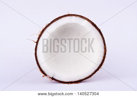 coconut half clipping path for coconut milk  on white background fruit food isolated
