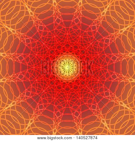Warm color line circles abstract background stock vector