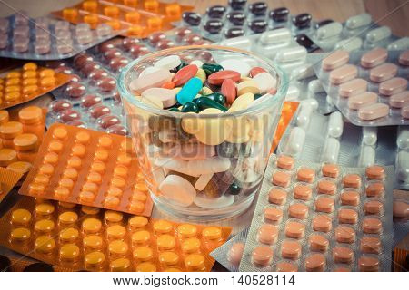 Vintage Photo, Heap Of Colorful Medical Pills And Capsules, Health Care Concept
