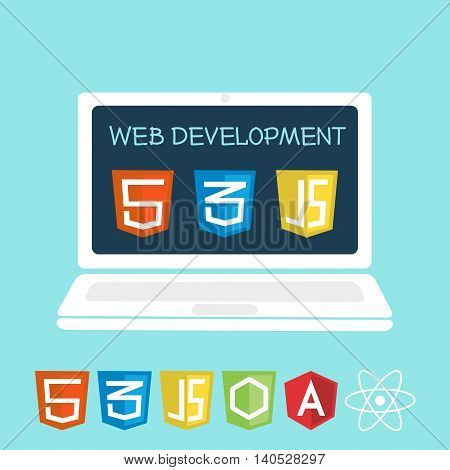 Web development on laptop screen. Vector illustration of software icons for site building web development