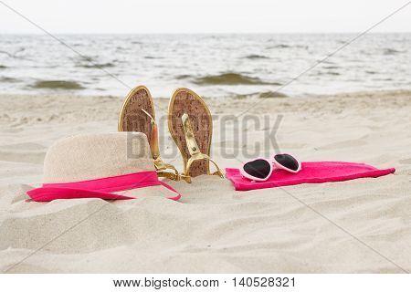 Accessories For Vacation On Sand At Beach, Sun Protection, Summer Time