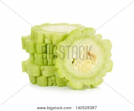 Slice Of Gourd Isolated On The White Background