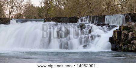 Scotts Mills Falls in Oregon State panorama