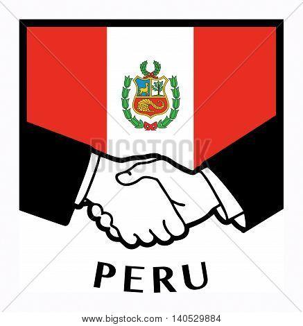 Peru flag and business handshake, vector illustration