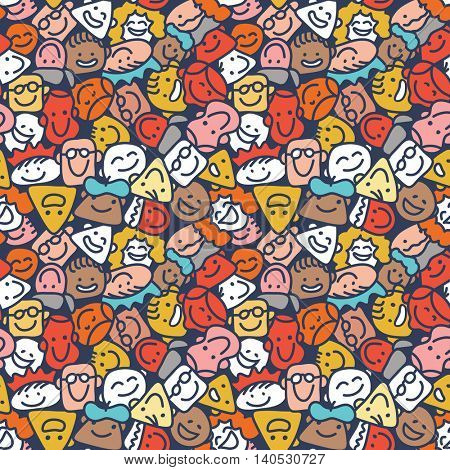 Seamless abstract pattern of hand drawn cartoon faces