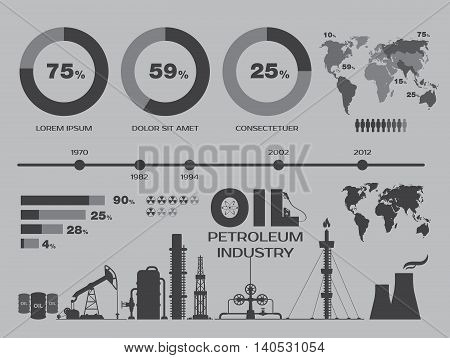 Petroleum industry. Oil icons. Oil and petroleum industry. Infographics