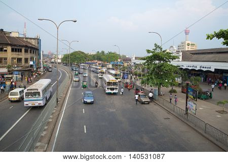 COLOMBO, SRI LANKA - MARCH 26, 2015: Street Olcott Mawata near the Central railway station. Tourist landmark of the city Colombo, Sri Lanka