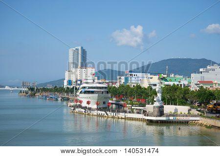 DA NANG, VIETNAM - JANUARY 06, 2016: View on the city's waterfront on a sunny day. Tourist landmark of the city Da Nang, Vietnam