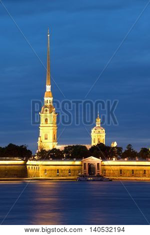 Peter and Paul Cathedral from the Palace embankment of the june night. Peter and Paul fortress, Saint Petersburg