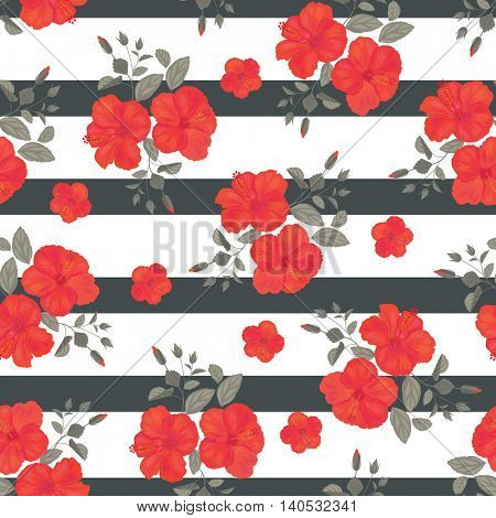 Hibiscus Flower Seamless Pattern with Stripes . Summer Ornament. Gypsy Stile. Vector Background .